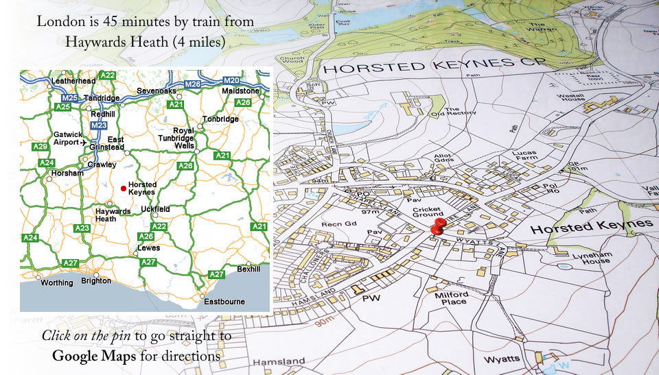Map of Burghurst Lodge location in Horsted Keynes, Sussex, UK